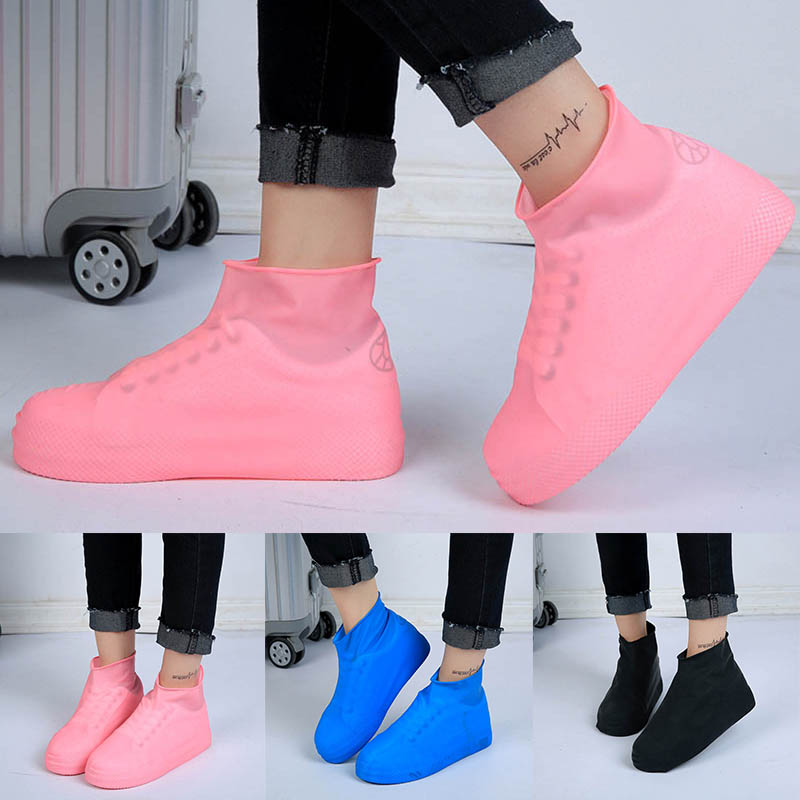 1 Pair Portable Shoes Accessories Waterproof Rain Boot Overshoes Anti-slip Latex Shoes Cover Reusable