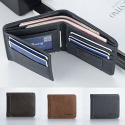Mens Casual Wallets Leather Short Foldable Wallet Purse 17 Credit Cards Holder