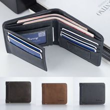 Mens Casual Wallets Leather Short Foldable Wallet