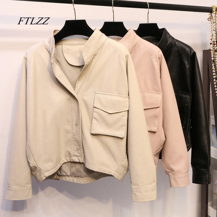 FTLZZ Fashion New Faux Leather Jacke Women Loose Irregular Batwing Sleeve Short Design Long Sleeve PU Casual Coat