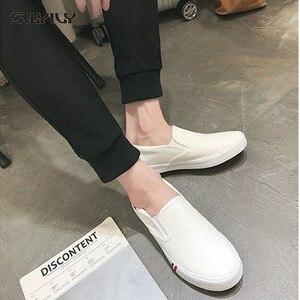 Image 3 - Swyivy 2018 Voorjaar Nieuwe Mannen Canvas Schoen Vulcaniseer Sneakers Platte Witte Schoenen Voor Mannen/Vrouwelijke Zwarte Sneakers 35 44 Size Slip Op