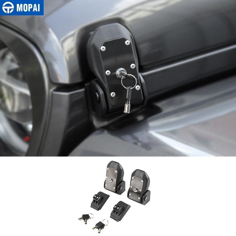 MOPAI Locks Hood for Jeep Wrangler JL 2018+ Car Engine Hood Latch Catch With Key Lock Kit for Jeep Wrangler JL Car Accessories