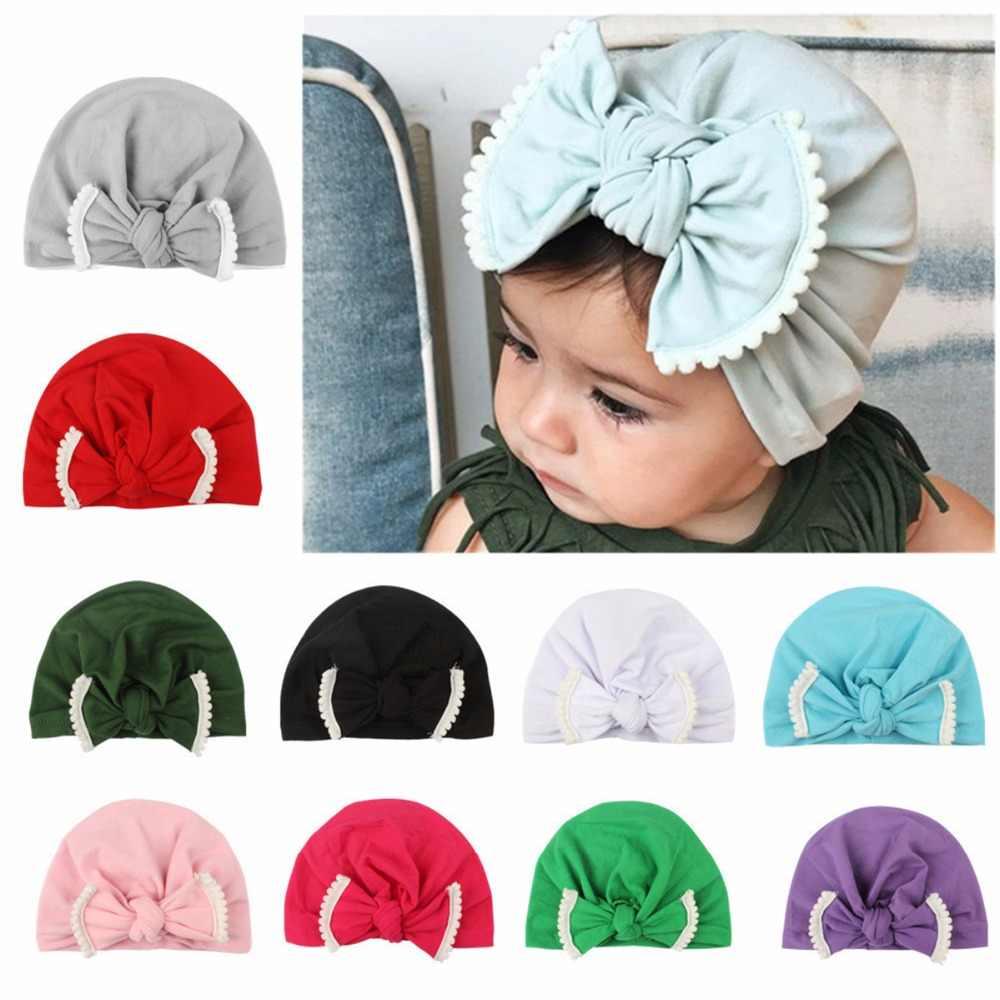 Puseky 1pcs New Baby Girls Boys Soft Bows Turban Rabbit Ear Knot Cap Beanie Hat  Muslim 9b0f51759d33