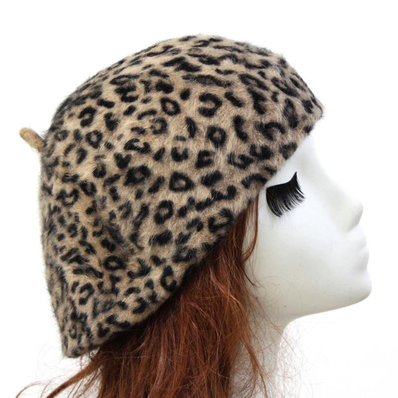 Women Rabbit Fur Beret Comfortable Soft Leopard Print Thick Warm Beret Winter Autumn Berets