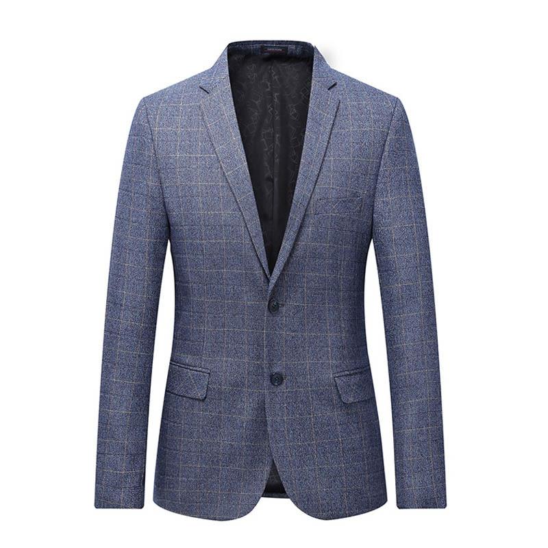Classic Business Work Men's Blazer Casual Slim Fit Two Button Plaid Suit Blazer Fashion Stylish Formal Coat Tops 5xl 6xl 7xl