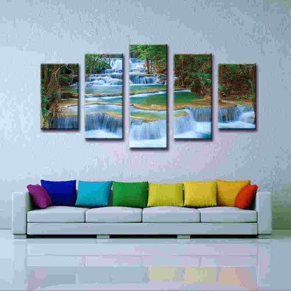 5Pcs Wall Art Canvas Painting HD Prints Home Decor Golf Course Creative Sport Modular Tree Pictures Landscape Artwork Poster