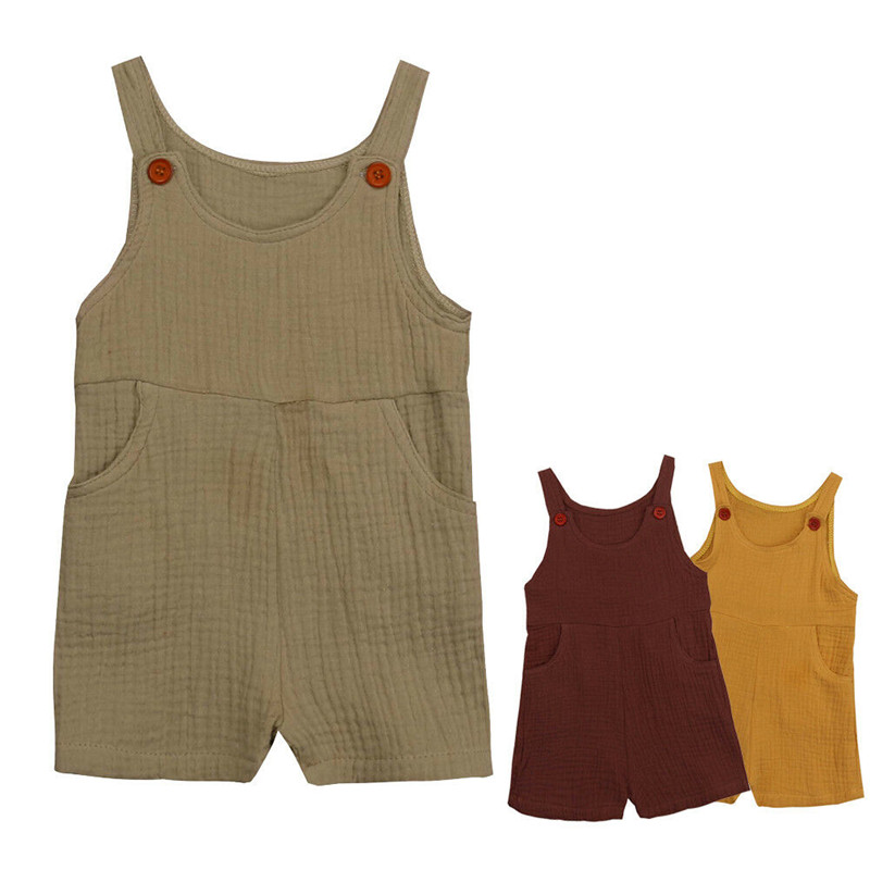 Casual Newborn Kids Baby Boys Girls Solid Cotton Linen   Romper   Jumpsuit Summer Sleeveless Clothes Outfits 0-3Y