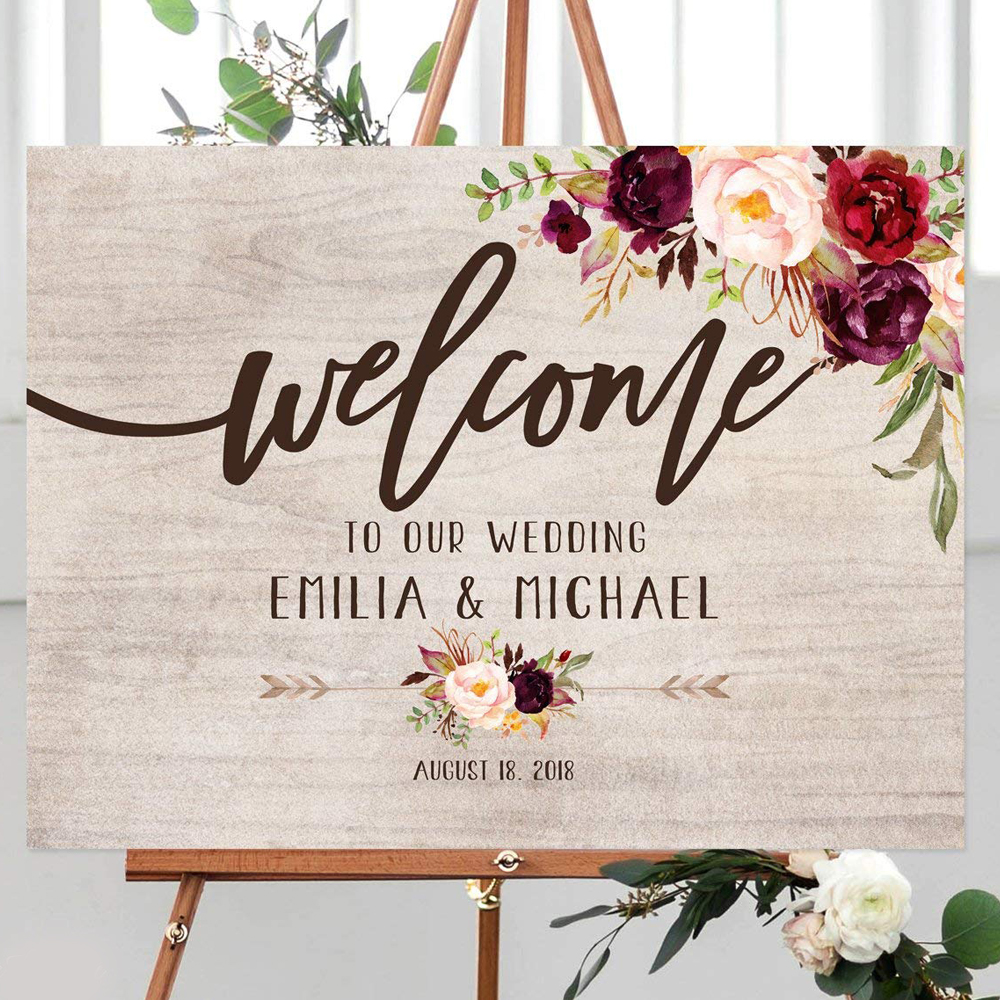 Personalized Welcome to Our Wedding Sign,Rustic Welcome Wedding Sign Custom Party Entrance Wedding Welcome Sign Gift For Couple