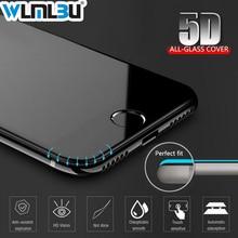 WLMLBU 5D 강화 유리 아이폰 7 유리 6s 플러스 스크린 프로텍터 아이폰 6 유리 전체 커버 필름 곡선 가장자리