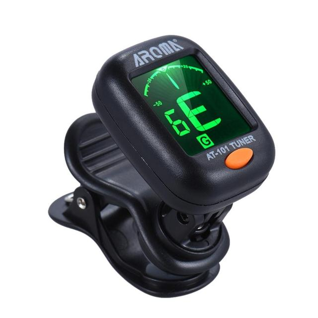 AT-101 Digital Clip-on Electric Guitar Tuner Foldable Rotating Clip High Sensitivity Ukulele Guitar Parts & Accessories