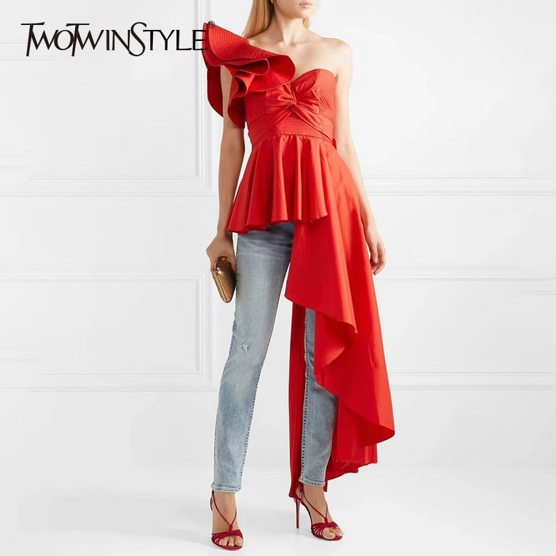 TWOTWINSTYLE Asymmetrical Off Shoulder Women s T shirts Strapless Lace Up Ruffle T shirt Tops Female