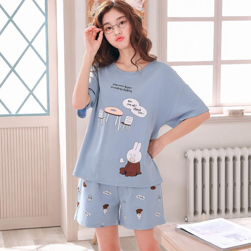 MISSKY Women Pajama Sets Short Sleeve Lovely Pattern Soft Cotton Home Suit Female Clothes Sleepwear For Summer