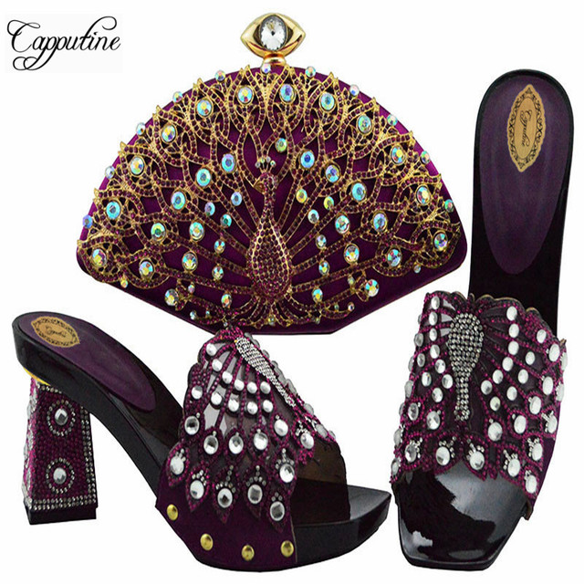 Capputine 2019 Fashion African Woman Shoes And Pretty Purse To Match Set  For Party Italian Style High Heels Shoes And Bag Set 589ad54cea35