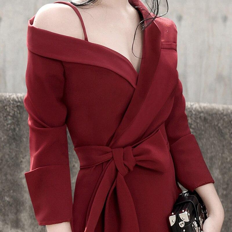 Red À ewq Chalaza Ad15703l Taille 2019 Nouveau Tempérament Robe Wine Longues Femme Manches Printemps Modèle Asymétrique Chic Automne Bustier F1wfqHF