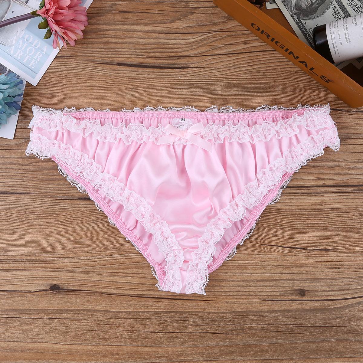f51e408d21 Men Shiny Soft Pleated Sweet Bikini Briefs Satin Lace Ruffled Sissy Panties  Sexy Underwear Gay Male