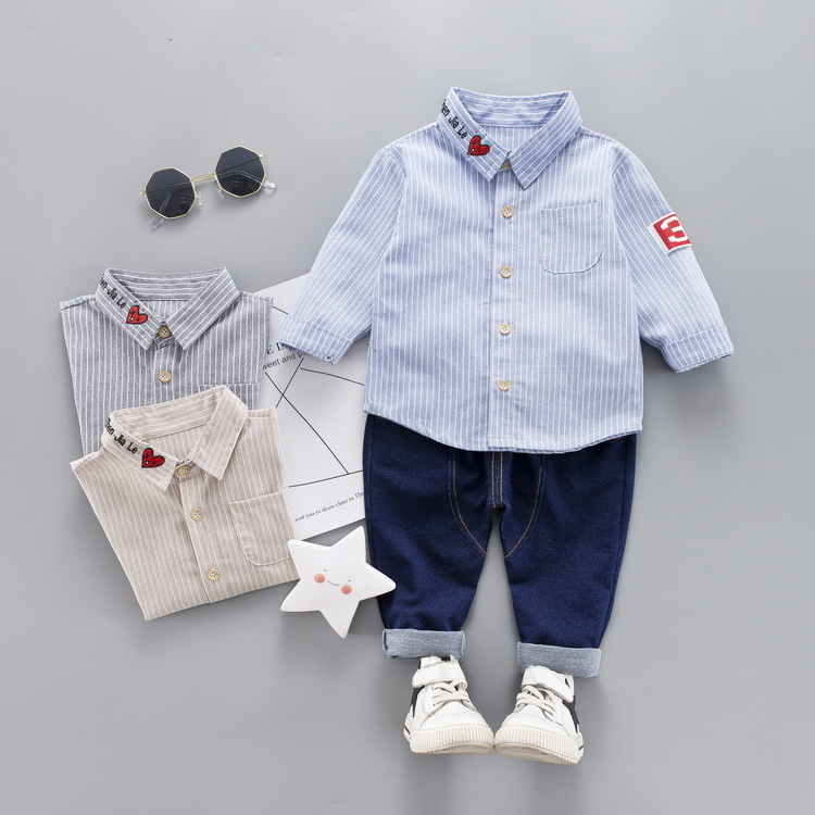 2019 Spring Baby Boys Clothes Infant Toddler Clothing Stripe Love Heart Lapel Shirt Pants 2pcs/sets Kid Children Leisure Suits To Have Both The Quality Of Tenacity And Hardness