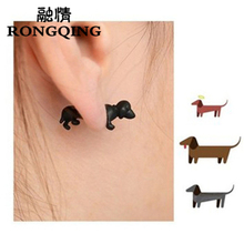 RONGQING 1pair Punk Jewelry Pet 3D Animal Dachshund Dog Earrings for Men and Women Cartoon Animal Stud Earrings