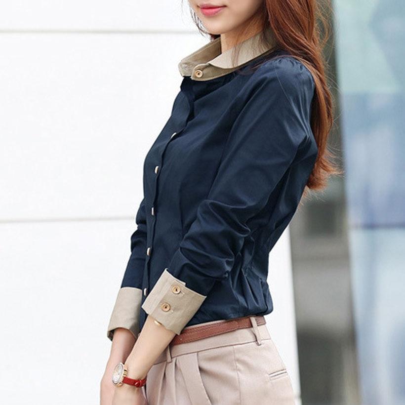 Korean Tops Women   Shirts   Office Lady Slim Plus Size Chiffon   Blouses   Casual Lapel Long Sleeve Blusa Patchwork Spring   Blouse   5XL