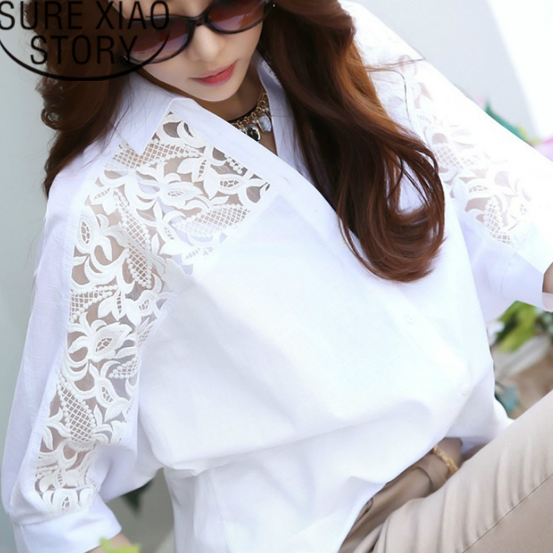 Womens Tops And Blouses Women Blouses Shirt Plus Size Women Tops Middle Long White Cotton Linen Lace Shirt Bat Sleeve 2589 50