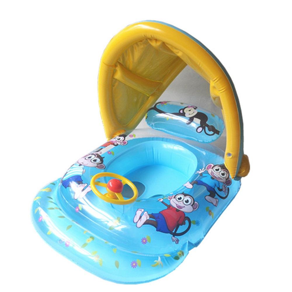 Swimming Baby Infant Child Kids Seat Swim Ring Safety Steering Wheel Floats Circle Bathing Pool Inflatable Shade Sun Block