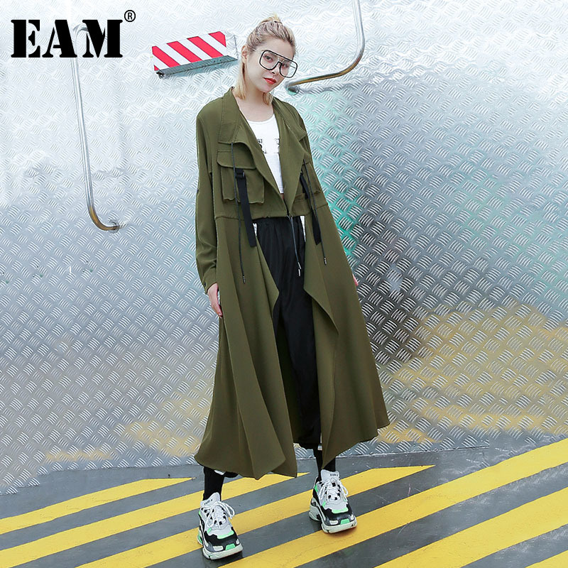 [EAM] 2019 New Autumn Winter Lapel Long Sleeve Army Green Stitch Pocket Big Size Windbreaker Women Trench Fashion Tide JR589