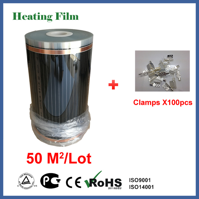 Infrared heating floor film 50 square meters, 220V electric heating floor film with Clamps 100 pieces