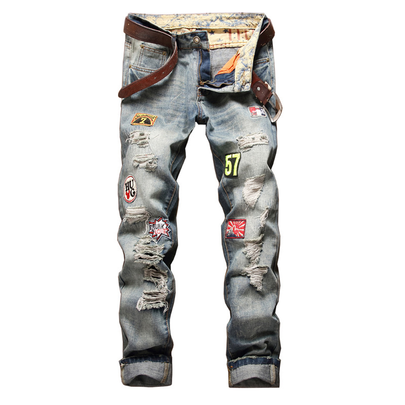 New Hot Sale Europe And America Brand Robin Straight Bowl Badge To Hole In Full Length Mid Patches Zipper Fly Jeans Men Mens