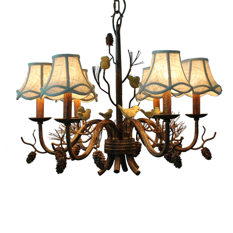 Hotel Art Deco Pinecone Light Retro Ceiling Chandelier Lamp For Fashion Store Bedroom Dining Room Resin Bird Pendant Chnadelier