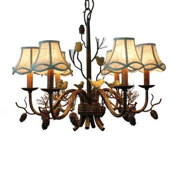 Hotel art deco Pinecone light Retro Ceiling chandelier lamp for fashion Store Bedroom Dining Room Resin bird pendant chnadelier