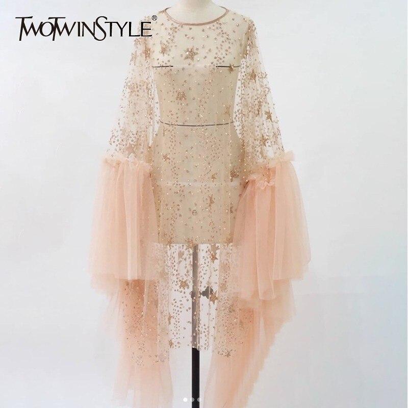 Deuxtwinstyle paillettes maille robe femmes O cou irrégulière Flare manches longues Perspective Sexy robes femme printemps mode 2019 nouveau