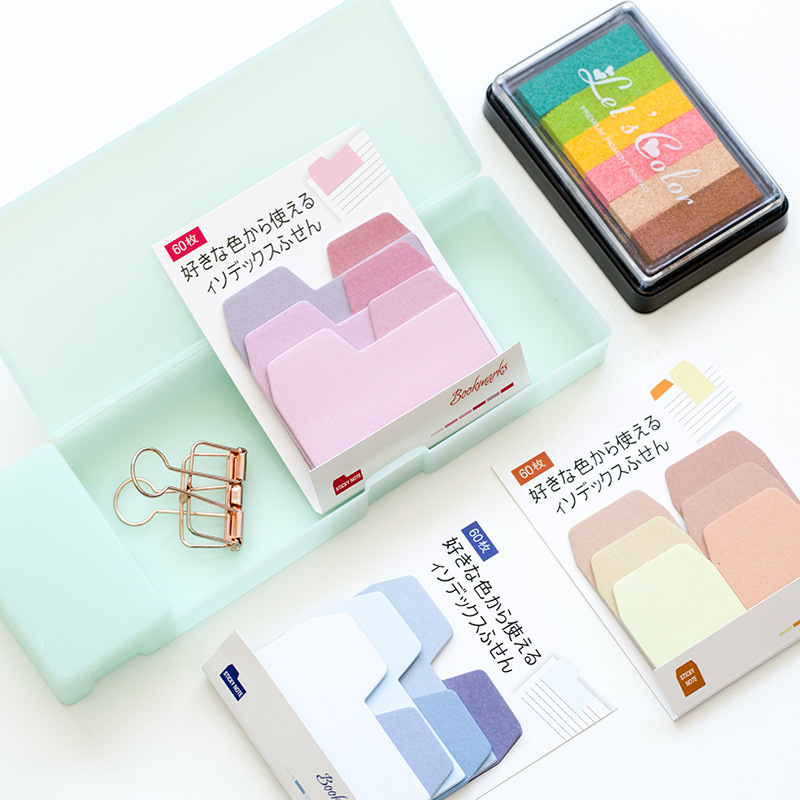 SIXONE Gradient Colour Post-it Index Label Creative Handbook Decoration Student Stationery Office Note Colour Sticker