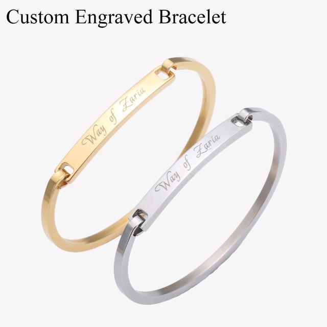 Custom Engraved Stainless Steel Bracelet Personalized Name Initial Bangle Rose Gold Bar Customized Bracelets For Women