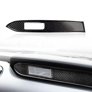 Image 2 - Para Ford Mustang 2015 2016 2017 fibra de carbono Interior del coche Centro de salpicadero Panel decoración cubierta