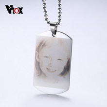 Personalized Photo Family Images Pendant Necklace ID Stainless Steel Jewelry for Girls(China)