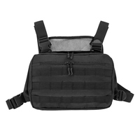 600D Vest Pouch Bag Chest Recon Bag Tactical Vest Bag Tools Molle Pouch with Buckle Hunting Hiking Waist Carry Bag Black