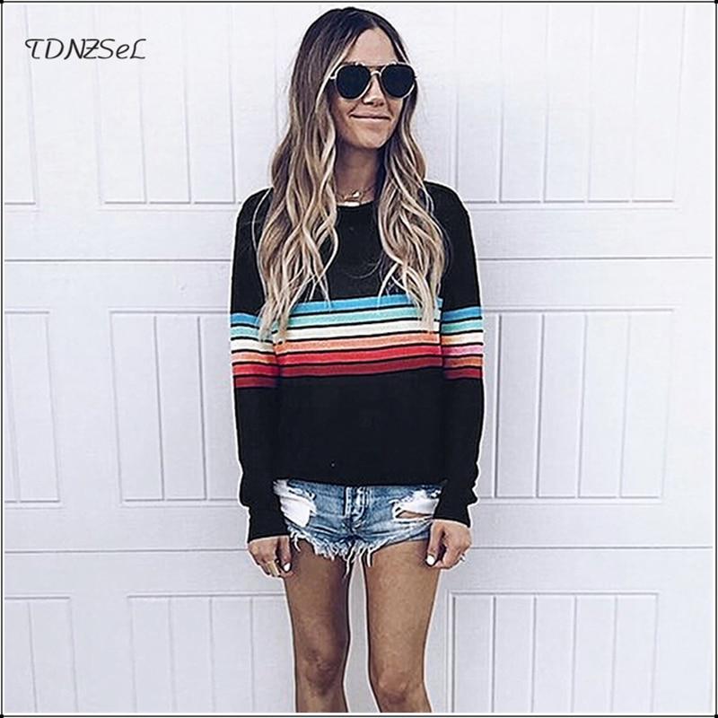 Casual O Neck Rainbow Striped Sweatshirts For Women Autumn Champion Sport Hoodies Fitness Long Sleeve Pullovers Streetwear Tops