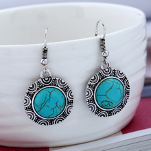 цена на Blue Stone Dangle Earrings Round Pendant Hook Earring Antique Silver Color Carved Ethnic Vintage Indian Jewelry Alloy DBE076