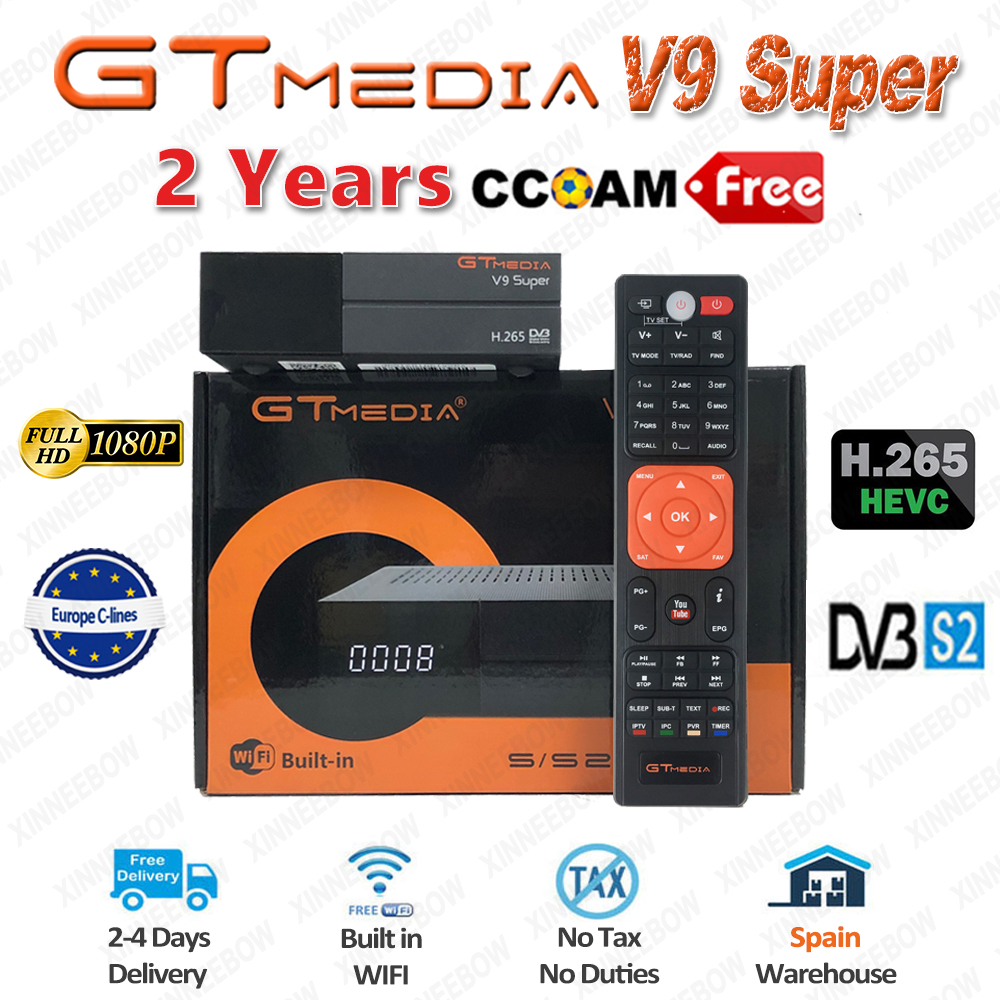 Best 1080P DVB-S2 GTmedia V9 Super CCcam Cline Spain Satellite TV Receiver Same GTmedia V8 Nova Freesat V9 Super Europe CCcam 2(China)