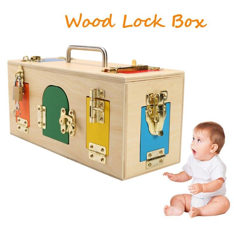 1 Pc En Bois Montessori Pratique Petite boîte de verrouillage Bébé puzzle d'éducation précoce Déverrouiller Jouets Maternelle Intelligence Outil D'enseignement