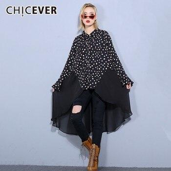66bf6f40798760e CHICEVER/2019 весенние женские платья в горошек с принтом для женщин, с  отворотом, с расклешенными рукавами, асимметричный подол, шифоновое платье.