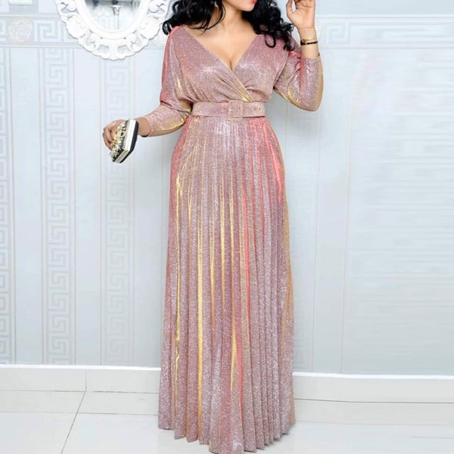 2019 Reflective Long Dress Women Pleated Sexy Deep V Neck Elegant Autumn High Waist Belt Glitter Evening Party Pink Maxi Dresses 1