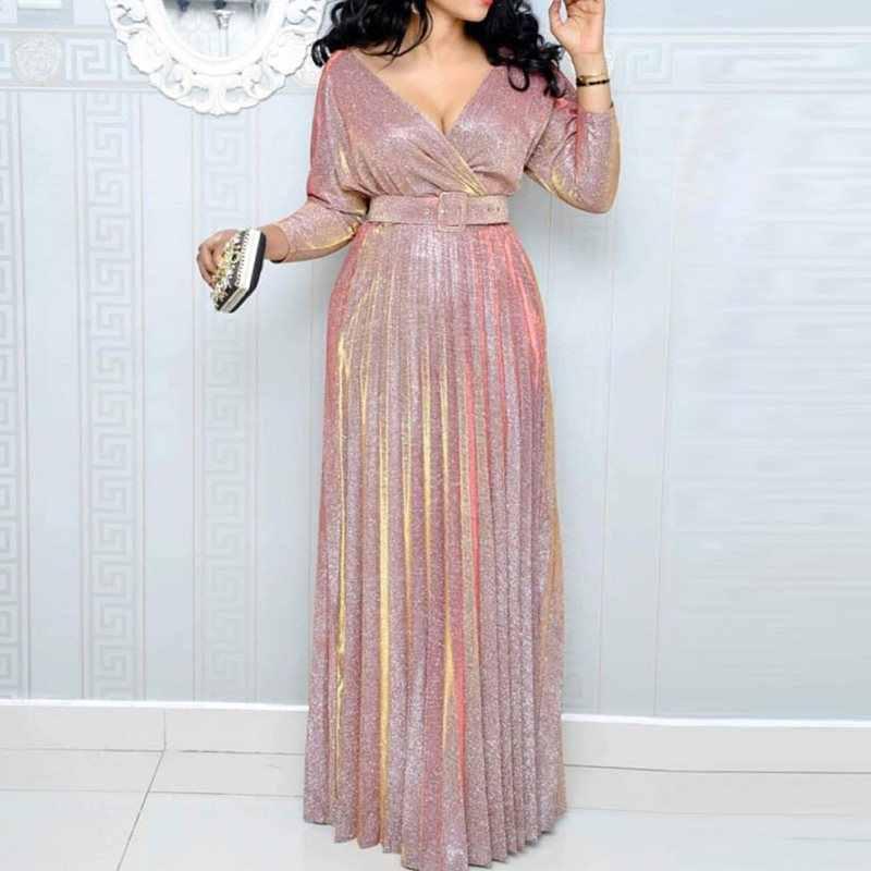 2019 отражающее Длинное Платье женское Плиссированное сексуальное Глубокий v-образный вырез элегантное осеннее Высокая талия с поясом блестящее вечернее розовое Макси платье