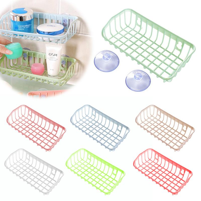 Multi-function Supporter Drain Storage Rack Basket Sink Hanging Storage Basket Sponge Holder With Sucker Kitchen Storage Gadget