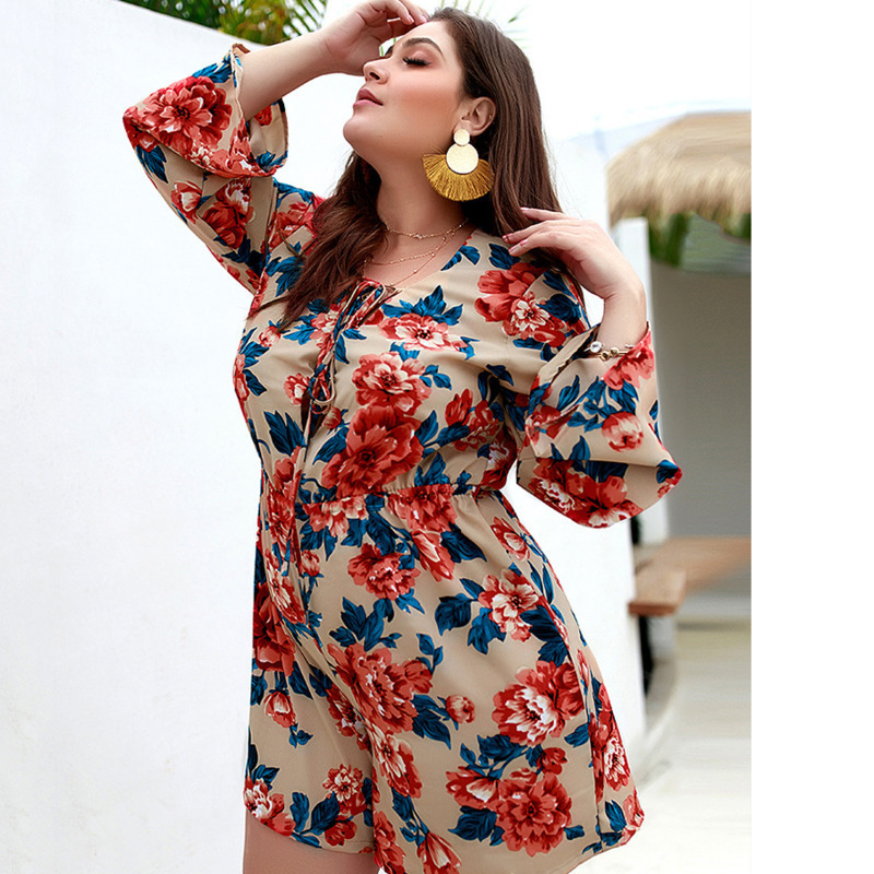 Summer Rompers Womens Jumpsuit Boho Floral Print Plus Size Overalls Lace Up Sexy Playsuit Shorts White Beach Jumpsuit Mono Mujer