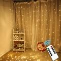 304 светодиоды 3х3м занавески сказочные гирлянды с пультом дистанционного управления огни для рождественской свадьбы вечеринки сада украшен...