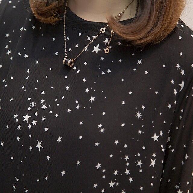Plus size Women Tops and Blouses 2020 Spring Autumn Star Printing Chiffon Shirts oversize Loose Long sleeve Blusas Femininas 6