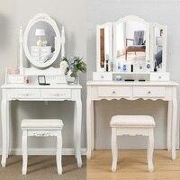2 стиль МДФ доска туалетный столик с табурет белый современная простая модная многоцелевой Малый размеры макияж зеркало быстро прибыть HWC