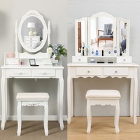 2 Style MDF Board Dressing Table with Stool White Modern Simple Fashion Multifunctional Small Size Makeup Mirror Fast Arrive HWC