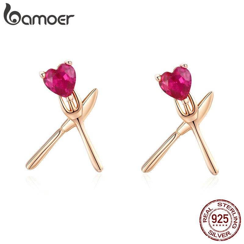 BAMOER Cute Korean Earrings For Women Pure 925 Sterling Silver Heart-shape CZ Faminly Food Stud Earring Trendy 2019 BSE054