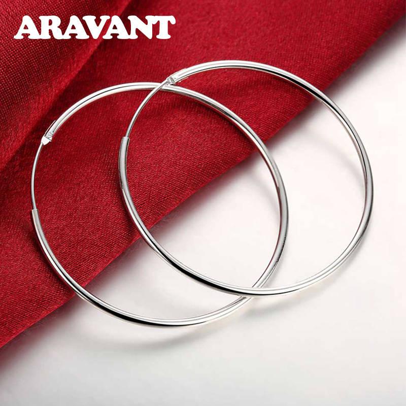 100% Стерлинговое Серебро 925 пробы Серьги-кольца для женщин 50 мм большие круглые серьги ювелирные изделия подарок